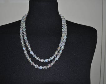 Double Strand Aurora Borealis Vintage Necklace // 1950's Rhinestone and Glass Faceted Bead Necklace