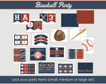 Baseball Party Collection - Printable Party Collection -the unique day // BAS -10