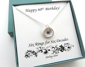 60th Birthday Gift, Birthstone Necklace, 60th Birthday, Sterling Silver Birthday Necklace, 6th Anniversary Gift, 60th Anniversary, Gemstone