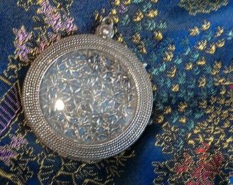 picture frame pendant locket mirror silver