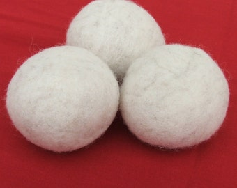 Natural Wool Dryer Balls -- Set of Three