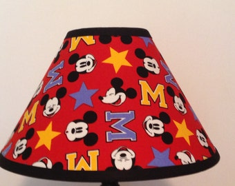 Mickey mouse lamp etsy disney mickey mouse fabric childrens lamp shadechildrens gift aloadofball Choice Image