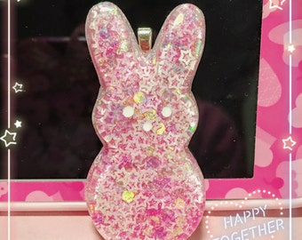 Pink confetti bunny necklace or keychain