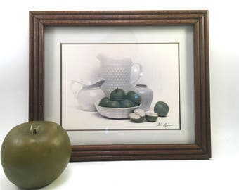 still life photo art print milk glass pitchers & bowls and green apples framed and matted country farmhouse style by Al Riccio