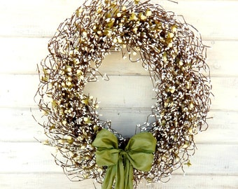 LARGE Wedding Wreath-Winter Wedding Decor-SAGE & CREAM Door Wreath-Scented Wreath-Winter Door Wreath-Front Door Decor-Wedding Decorations