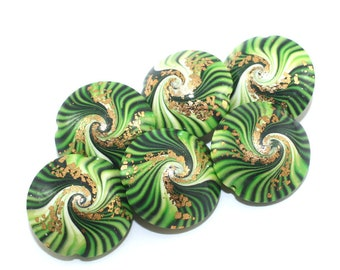 Amber green beads for jewelry making laurel swirl necklace beads polymer clay lentil beads in greens unique pattern set of 6 bracelet beads
