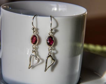Genuine Red Garnet Sterling Silver Heart earrings/Love Earrings/Red Earrings/Valentines Earrings/Wedding Earrings