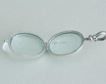 Oval Glass Locket Sterling Silver Keepsake finding 1181