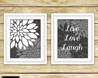 Live Love Laugh Grey White Floral Flower Burst Wall Art Bathroom Bedroom Decor Printable Set of 2-11x14 Digital JPG Instant Download (44)