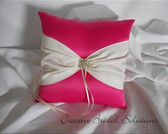 Fuchsia and Ivory Wedding Ring Bearer Pillow