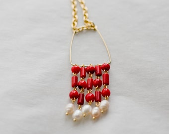 Long golden tone chain necklace, red coral necklace, necklace with red coral and pearls fringes pendant, boho necklace, pendant necklace