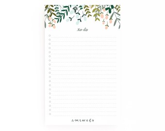 Floral To Do Notepad | Illustrated To Do List Notepad with Hand Lettered Calligraphy, Daily Planner Notepad : Garden Wreath To Do Notepad