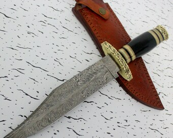 Custom Handmade  Damascus Steel Bowie/hunters knife with a Feather pattern blade and heavy duty custom top grain leather sheath