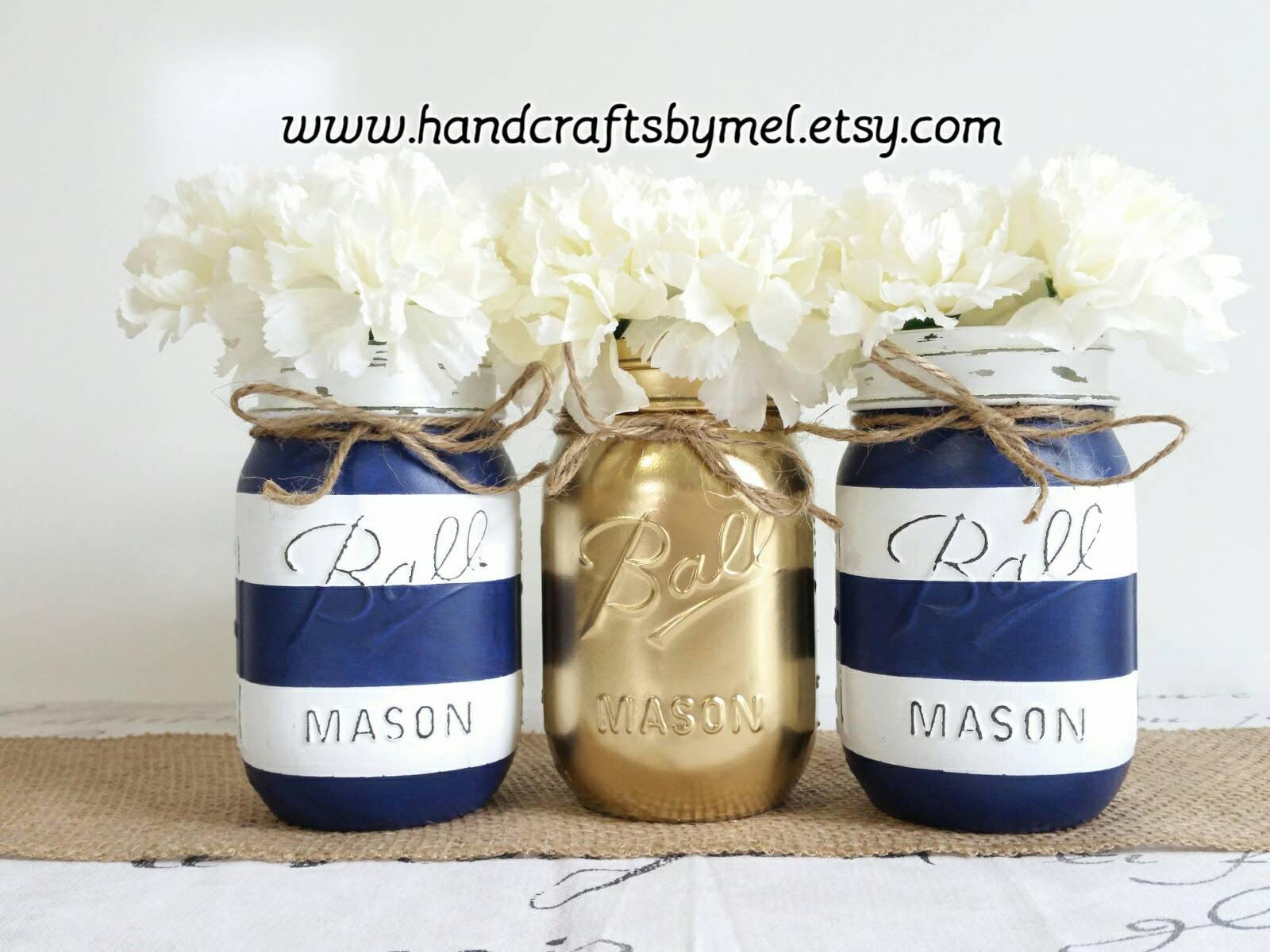 Nautical Theme Navy Blue Mason Jars Baby Shower Decor Blue