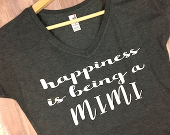 Happiness is being a Mimi shirt // Grandma Shirt, Grandma Gift, Pregnancy Annoucement, New Grandma