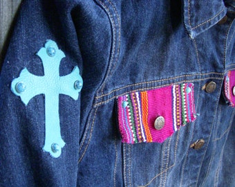 Custom Embellishment Serape Denim Jacket with Turquoise Crosses