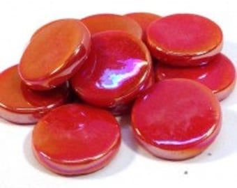 18mm Round Gloss -Red Pearlised - 50g