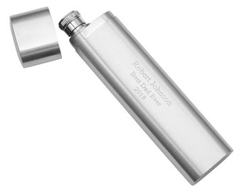 Personalized Portable Stainless Steel 2oz Flask with Cigar Holder