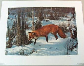 "7924: Vintage RC Kray ""Worken the Cattails"" Print Lithograph LE Signed Numbered in Pencil by Artist Fine Art at Vintageway Furniture"