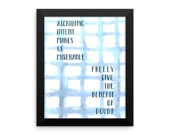 Inspirational quote framed poster wall art decor indigo shibhori hand lettering