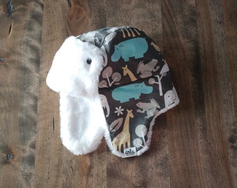 READY to Ship - Kid's Trapper Hat - blue zoology