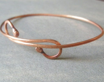 Double Shepherd's Crook Hammered Eco Copper Adjustable Bangle Bracelet