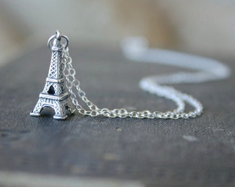 Sterling Eiffel Tower Necklace - Simple everyday delicate jewelry