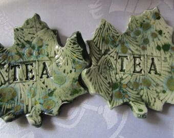 Set of Two Green Leaf Tea Bag Holders