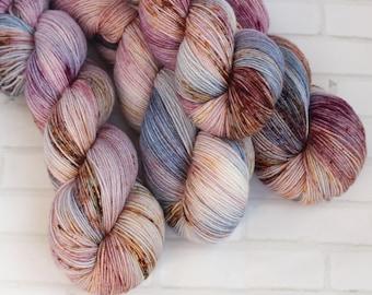 Monet's Ballerinas - Sock Yarn - Hand Dyed Variegated Yarn - Speckled Yarn - Extrafine Merino Nylon Yarn - Fingering Hand Dyed Yarn - Plum -