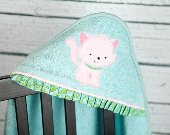 personalized toddler towel kitten applique infant bath wrap