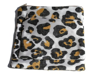 Reusable Zipper Snack Sandwich Bags set of 2 Animal Print Cotton Twill