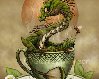 TEA DRAGON Print 4x6, 8.5x11, or 11x14, dragon art, dragon poster, kitchen décor, kids room décor, food dragon