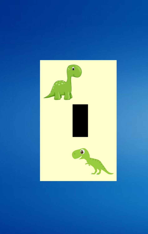 Green Dinosaur wall art Kids Room Light switch plate cover