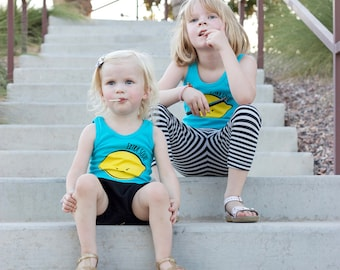 Turquoise Blue Extra Sour Lemon Tank Top 2T 4T 6T ON SALE