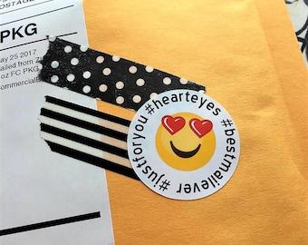 Emoji -Heart Eyes Sticker Sheet - small business packaging - packaging supplies