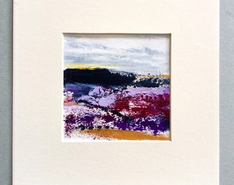 Small abstract landscape, hill painting, art on paper, art gift, small original art, acrylic painting
