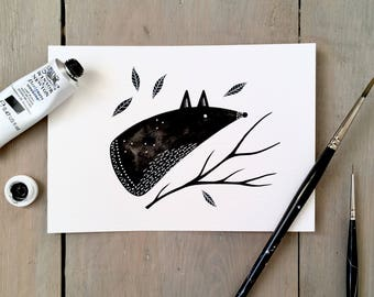 Felicity Fox - Original Contemporary 4x6 Watercolour Animal Painting - Black and White Art - by Natasha Newton