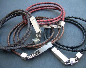 Mens Bracelet, Braided Mens Leather Bracelet, Mens Jewelry, Leather Bracelet, Triple Wrap, Stainless Steel Hardware,