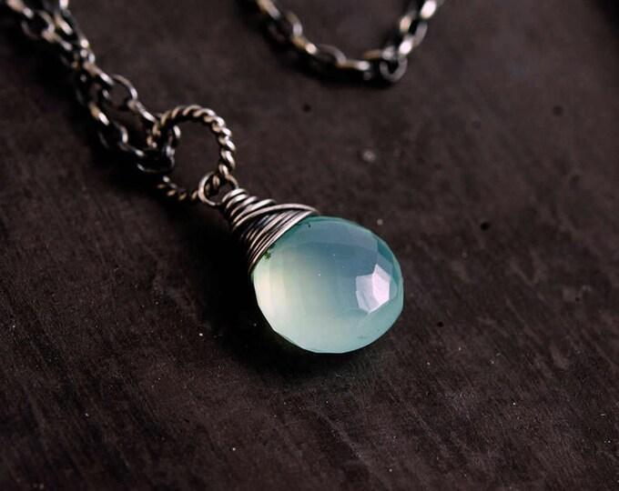Chalcedony Necklace, Gemstone Necklace, Silver Necklace, Sky Blue, Pale Blue, Pastel Blue, Gemstone Jewelry, Sterling Silver, PoleStar