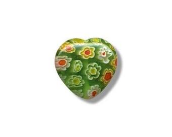 2 hearts 13.5 mm x 13 mm millefiori glass beads
