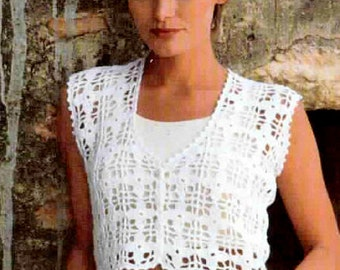INSTANT DOWNLOAD PDF Vintage Crochet Pattern   Cropped Top Bolero Granny Squares  Retro