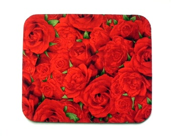 Mouse Pad - Fabric mousepad - Red roses - Home office / computer / Electronic