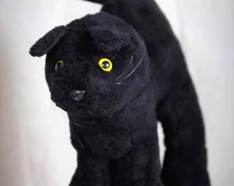Vtg large black plush cat