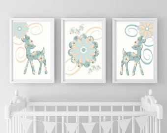 Nursery Prints, Deer Bambi Prints, Woodland Prints, Girls Nursery Decor, Floral Nursery Print Set, Floral Wall Art Prints, Set of 3