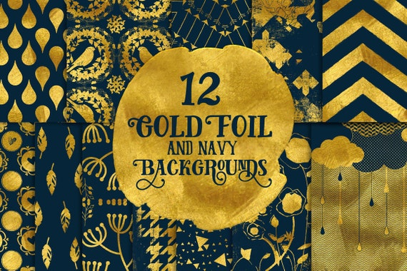 Digital paper, Digital Navy Gold Paper, Digital Scrapbook paper pack - Instant download - 12 Digital Papers - Gold Foil