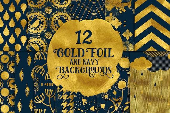 Digital paper, Digital Navy Gold Paper, Digital Scrapbook paper pack - Instant download - 12 Digital Papers - Gold Foil
