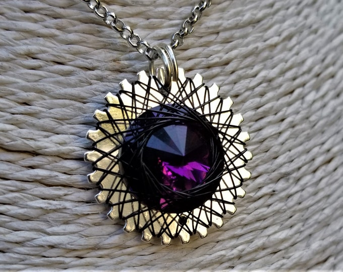 Spirograph Inspired Amethyst Swarovski Crystal Pendant in Silver Setting with Black Wire