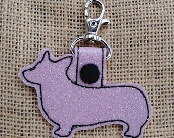 Corgis Glitter Keychain Fob