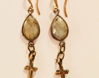 KBD Laborodite Drop Bronze Cross Earrings