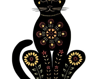 Cat -11 x 14 inch  Cut Paper Art Print